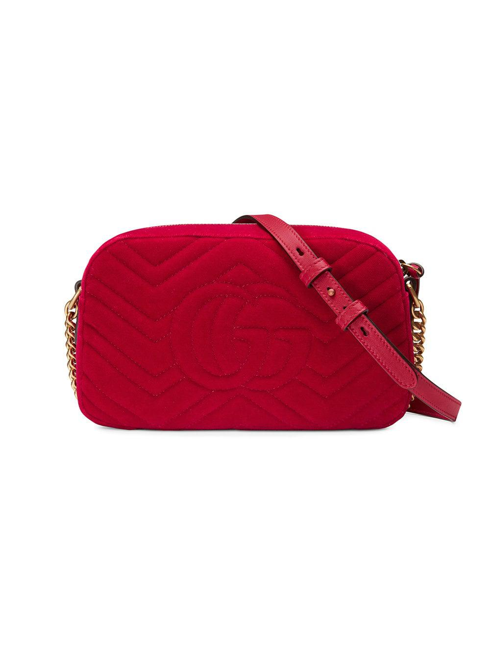 c700b38148ed2b Gucci Gg Marmont Velvet Small Shoulder Bag in Red - Save 13% - Lyst