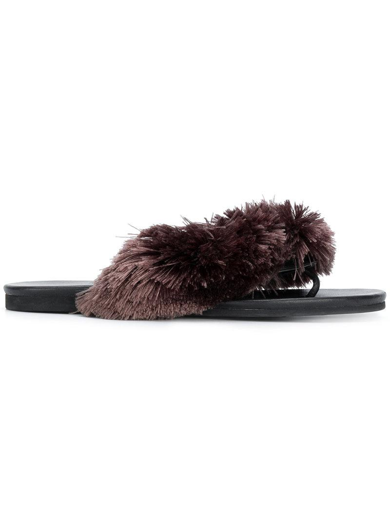 Marco De Vincenzo Fringed Flip Flops in Black - Lyst
