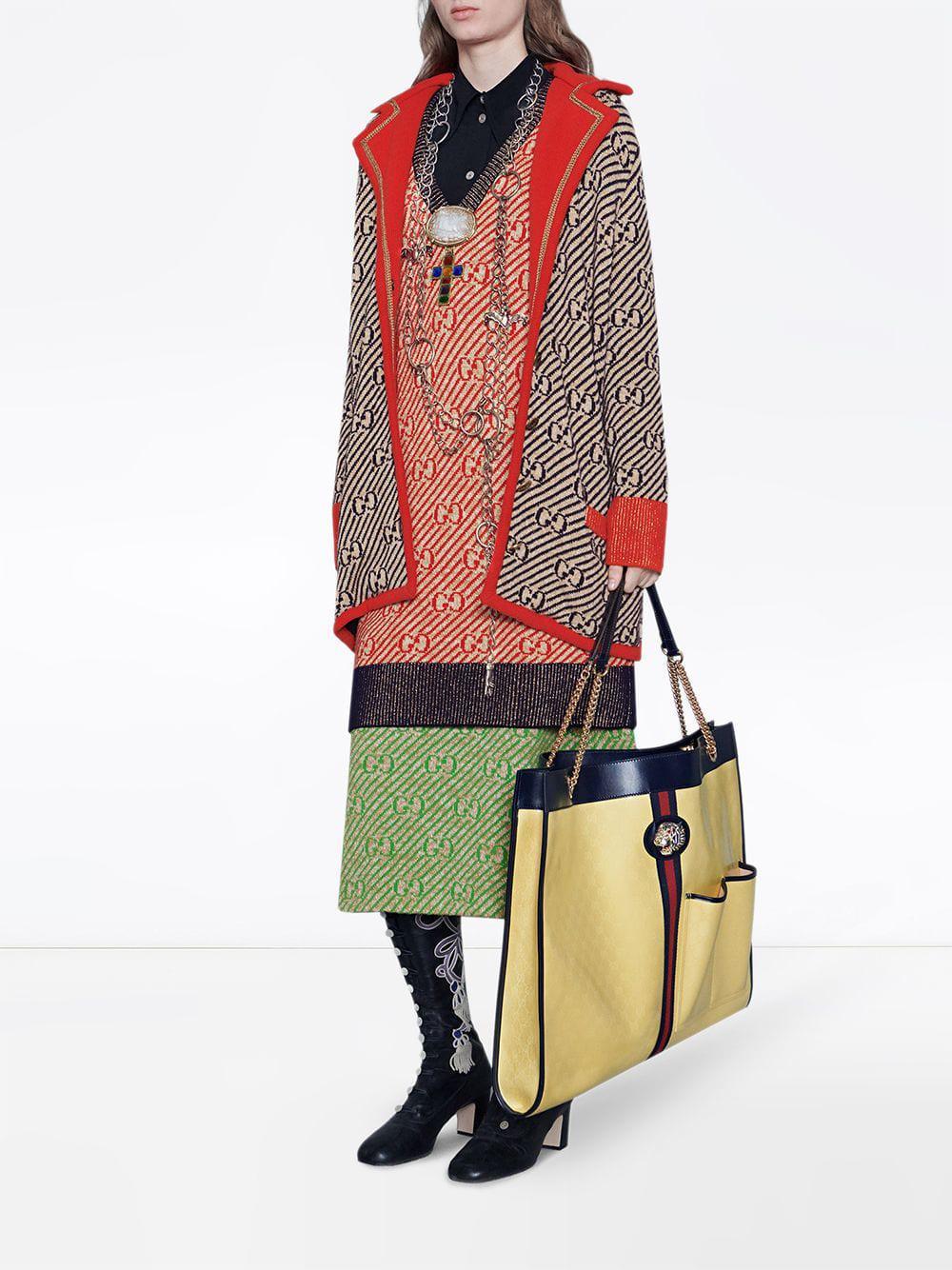 7df073ea7 Lyst - Gucci GG Stripe Wool Skirt in Green