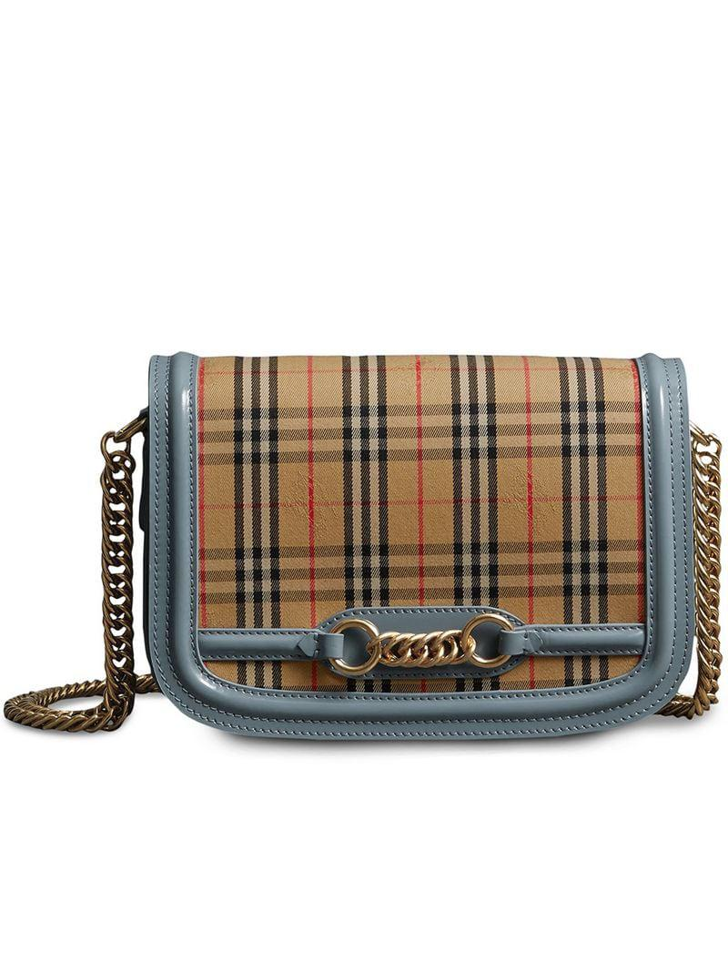 Burberry. Women s Yellow Blue And Camel The 1983 Check Link Bag With Patent  Trim a78d903a6d298