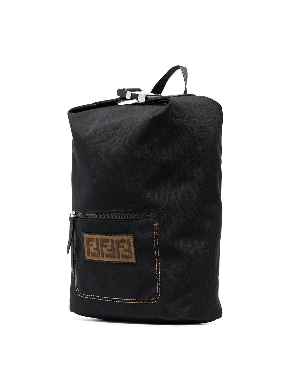 Fendi - Black Logo Embroidered Buckle Backpack for Men - Lyst. View  fullscreen bec67088835a7
