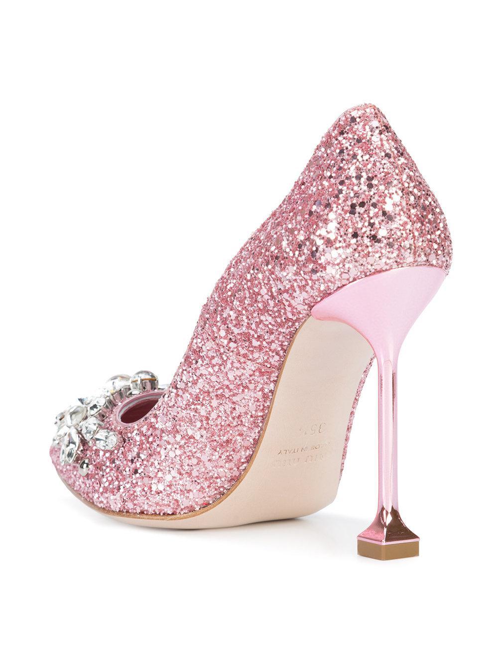 Glitter Embellished Pumps - IT39 / Pink Miu Miu 8kokxa3I
