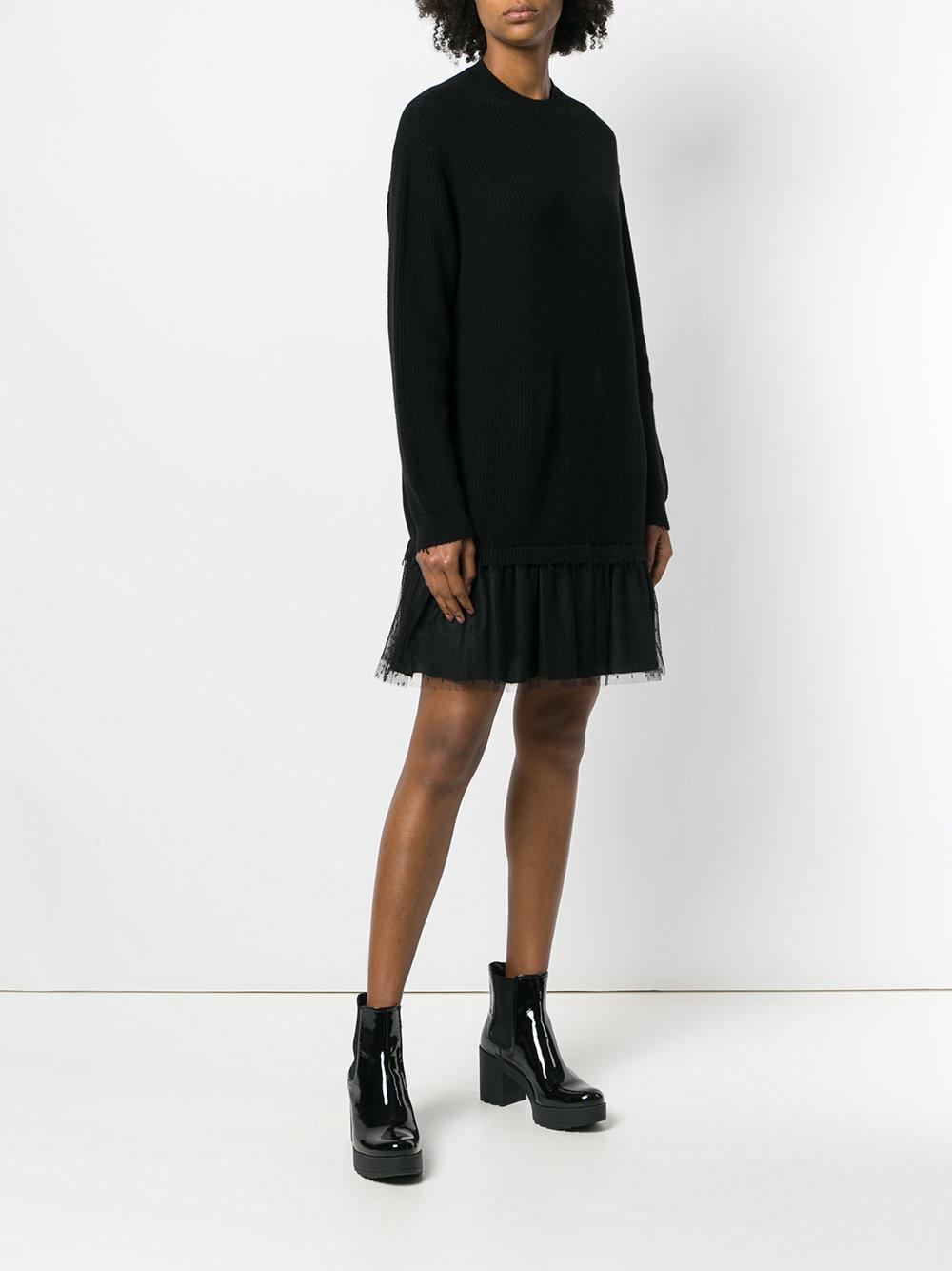 Sast Prix Pas Cher faux Robe Plissée Sweat-shirt Ourlet - Valentino Rouge Noir Extrêmement Pas Cher Jeu Images Footlocker LYIUD