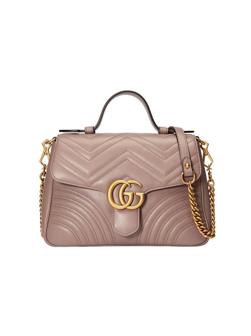 4609e1c145b2 Gucci GG Marmont Small Top Handle Bag in Pink - Lyst