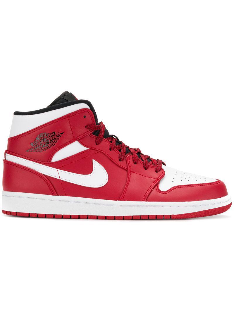 Nike. Men's Red Air Jordan 1 Mid Sneakers