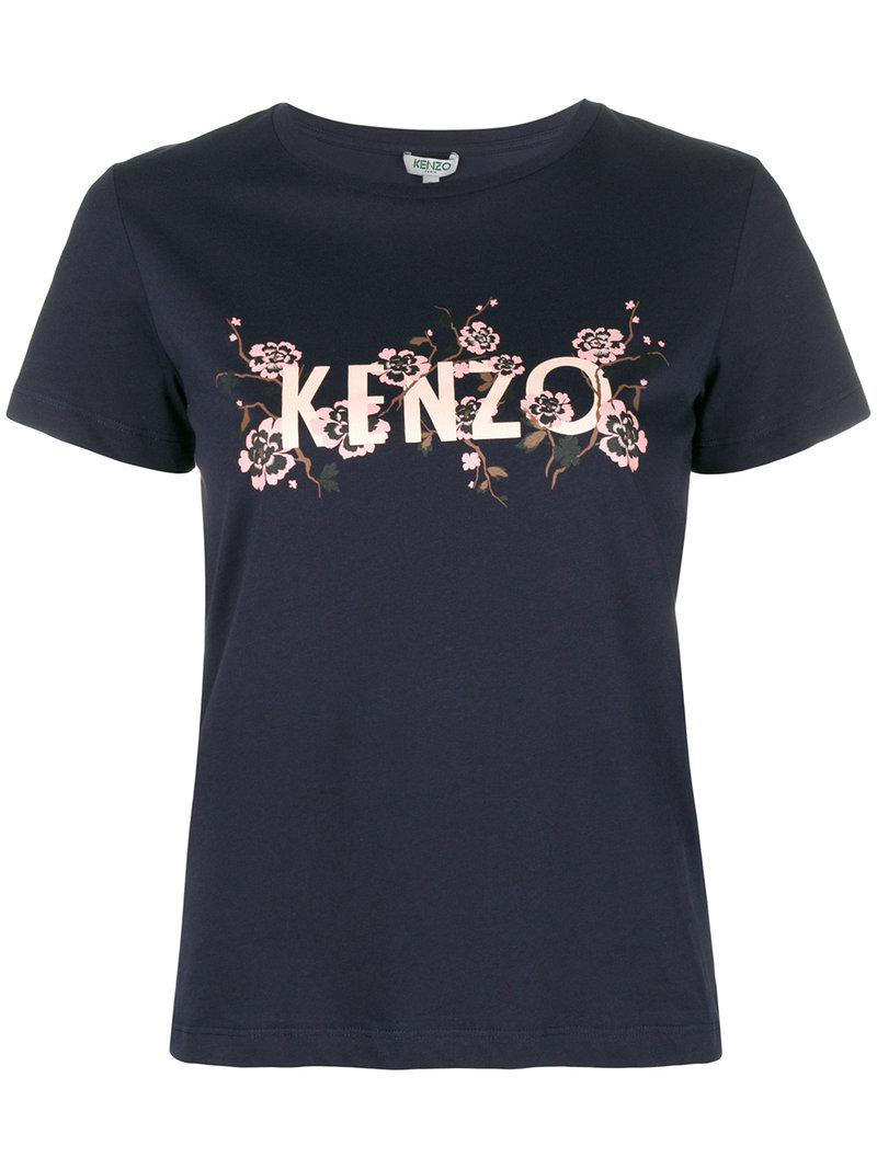 ab4bf634d580 Kenzo Floral Logo T-shirt in Blue - Lyst