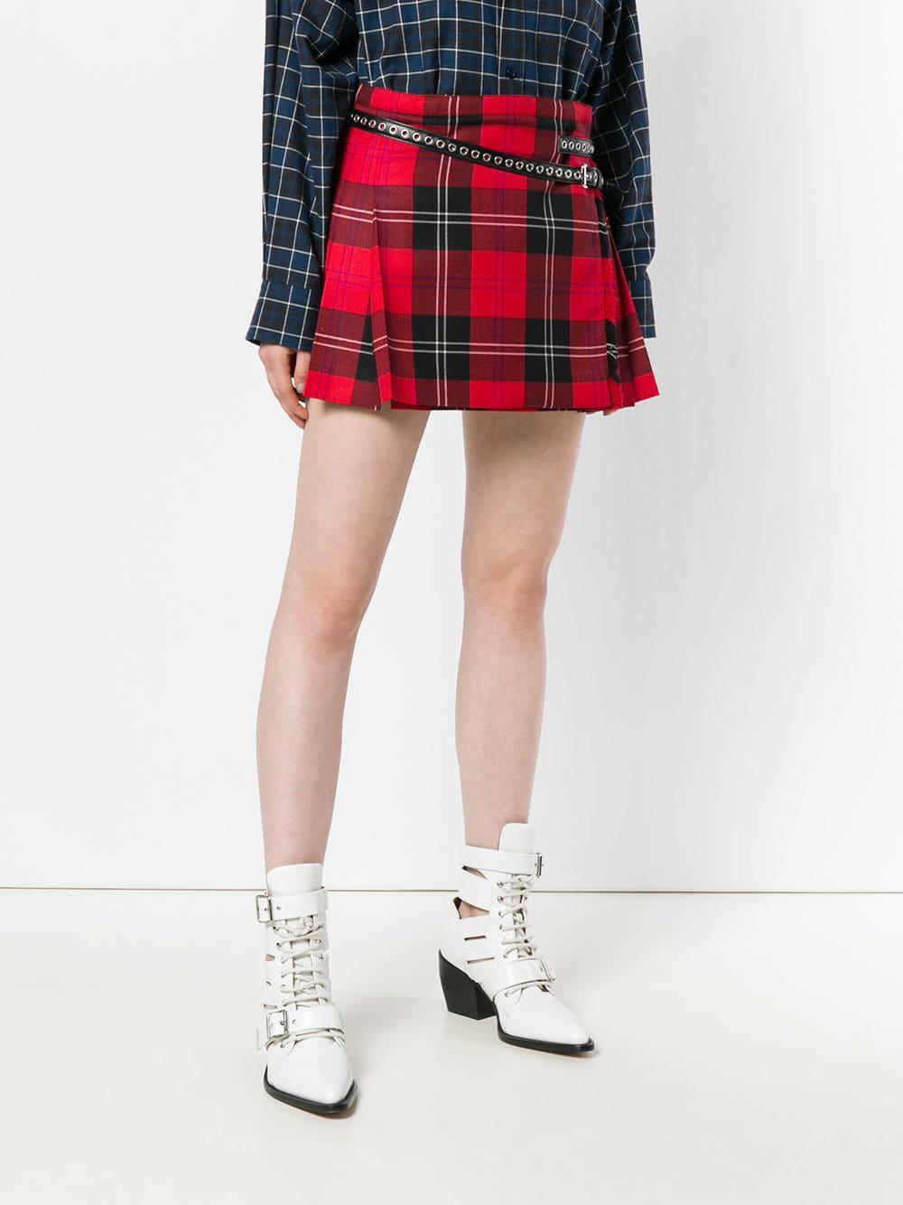 d8f9631166 Miu Miu Pleated Plaid Skirt in Red - Lyst