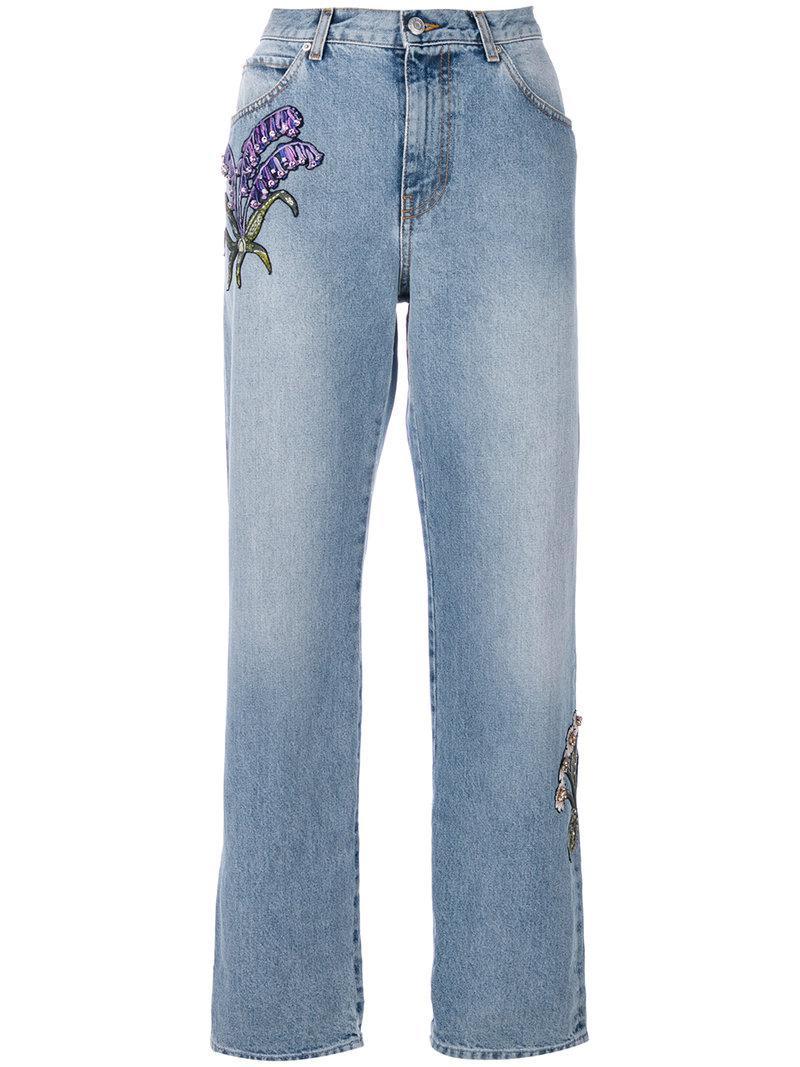 floral embroidered straight-leg jeans - Blue Alexander McQueen meVZKCgGB