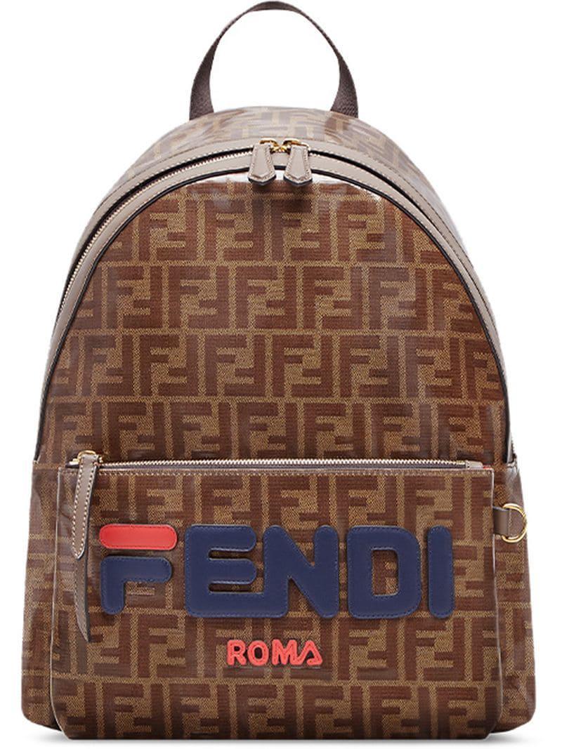 cfca0aa3e Fendi. Men's Brown Logo-appliquéd Leather-trimmed Printed Coated-canvas  Backpack