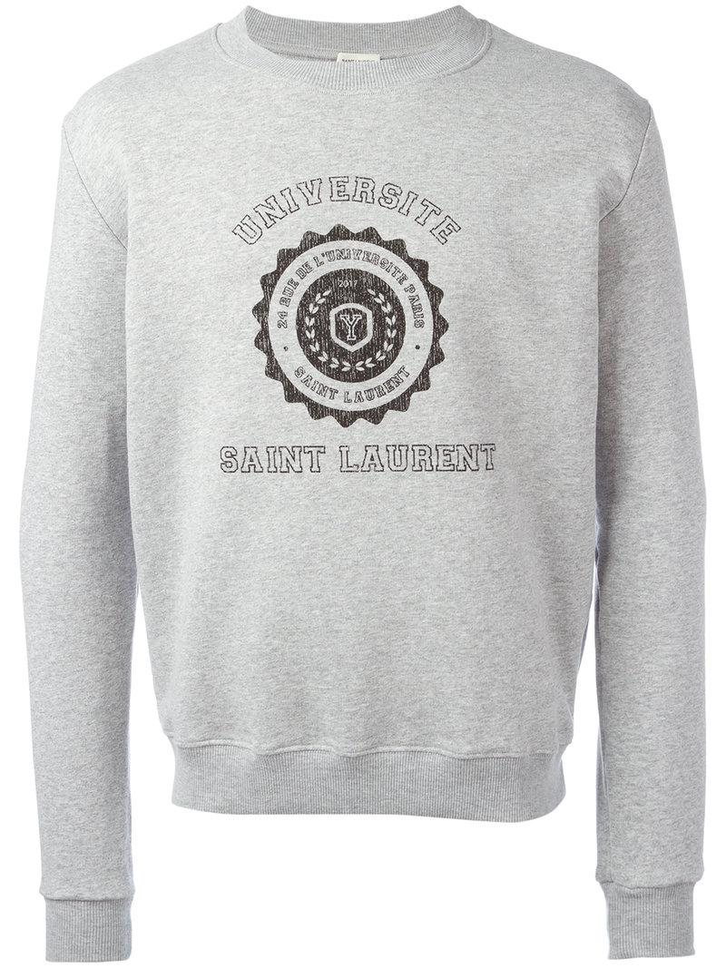 b814642f5 Saint Laurent - Gray Printed Motif Sweatshirt for Men - Lyst. View  fullscreen