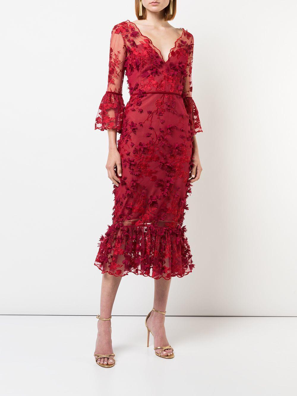 65de74153df Marchesa notte - 3 4 Sleeve Embroidered Midi Dress - Lyst. View fullscreen