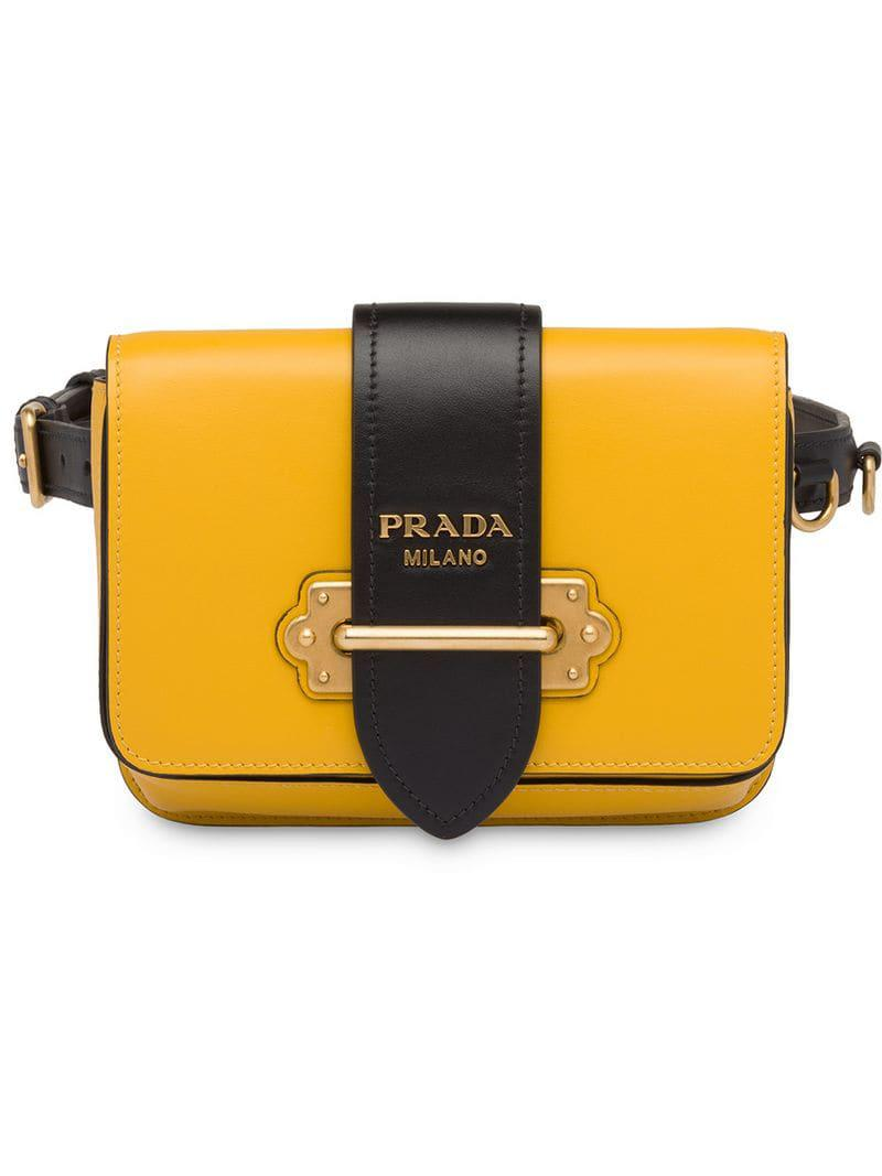 5d54d538626b2b Prada Cahier Belt Bag in Yellow - Lyst