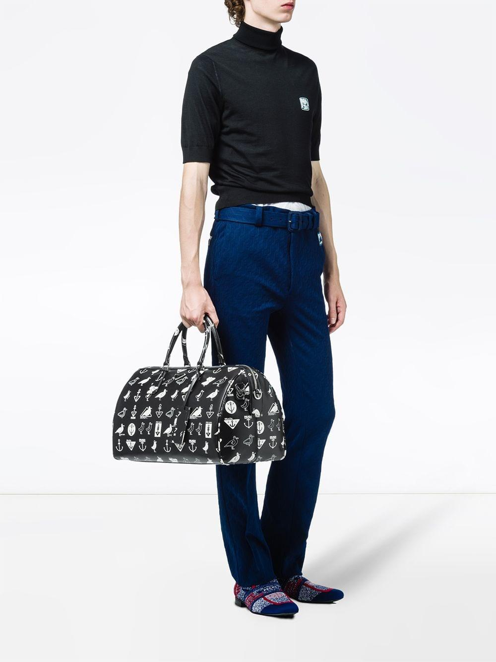 7443ac0bc452 Prada - Black Printed Saffiano Leather Travel Bag for Men - Lyst. View  fullscreen