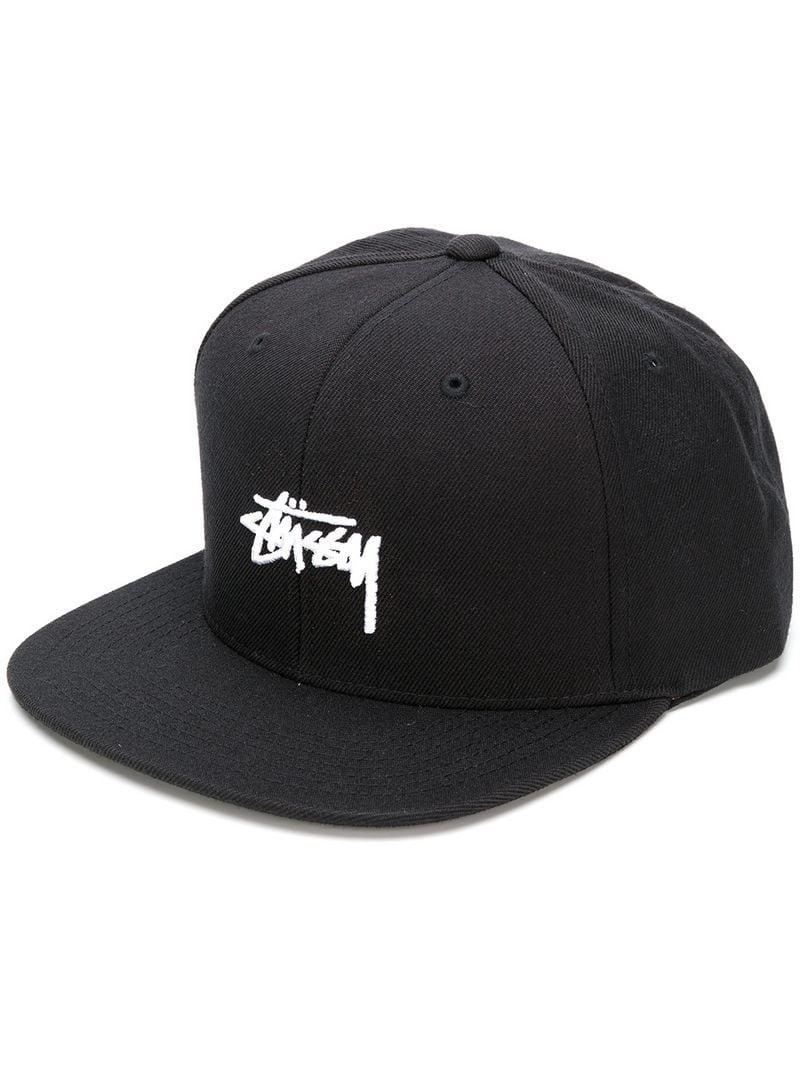 412cc4e2 Stussy Embroidered Logo Cap in Black for Men - Lyst