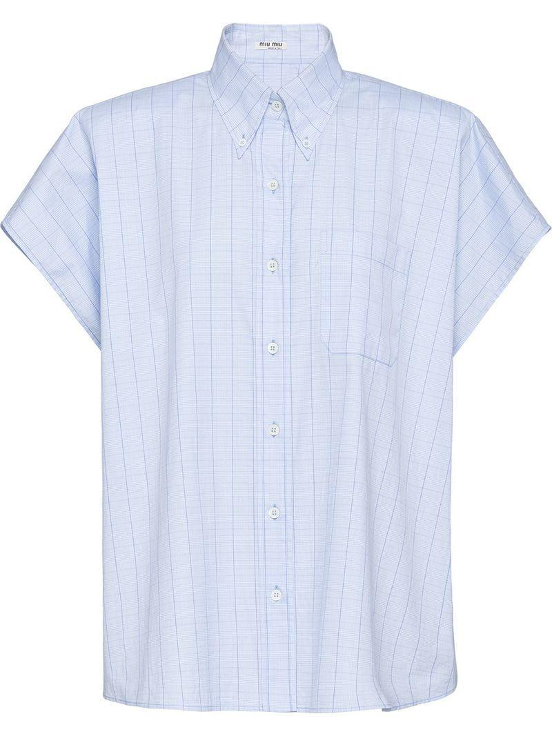 8bfdfc9a6d1b Miu Miu Prince Of Wales Check Shirt in Blue - Lyst