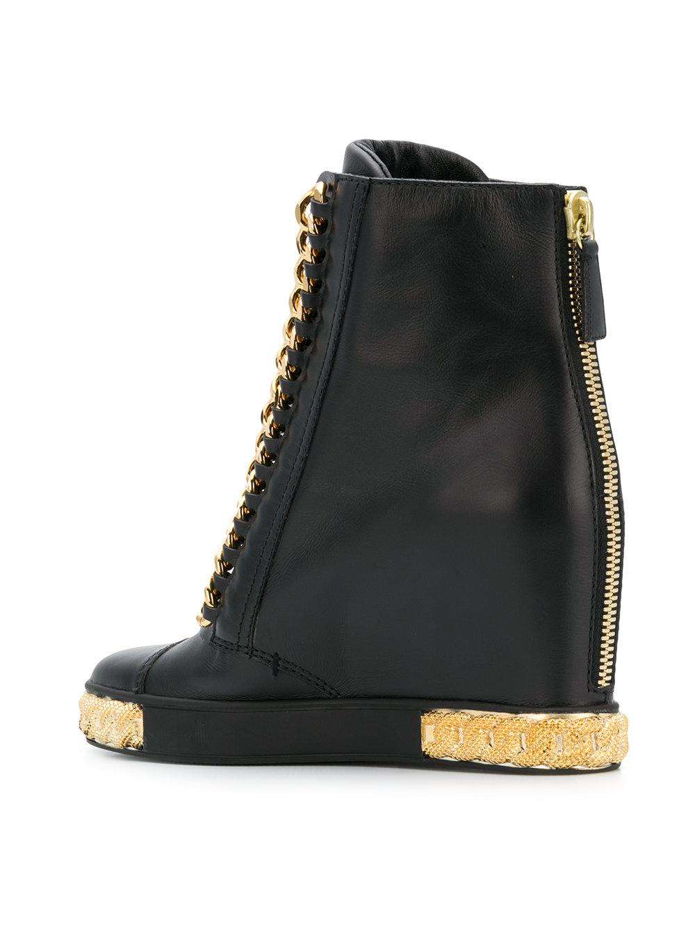 8d5d586e8bb Lyst - Casadei Chain Embellished Wedge Sneakers in Black