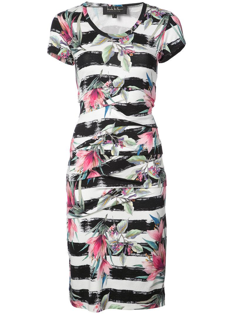 striped floral printed dress - Black Nicole Miller NtT09i