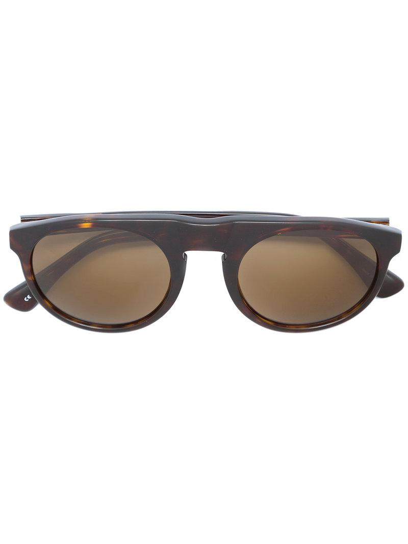 9c88ddf3835 Lyst - Linda Farrow 91 C6 Flat Top Sunglasses in Brown