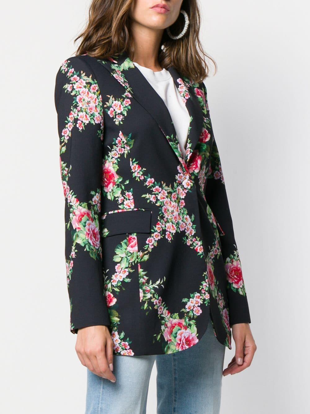 462873d2c Blumarine Floral Print Longline Blazer in Black - Lyst