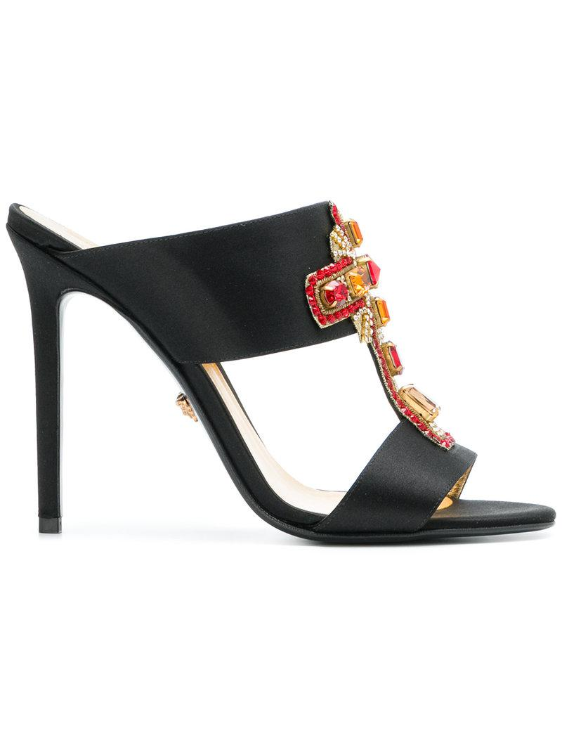 Clearance Online Ebay embellished cross mules - Black Versace Excellent Cheap Online Perfect Cheap Online Cheap Hot Sale Sale Online Shop SN7c3wcRY