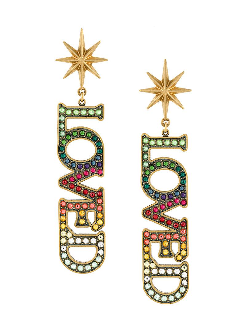 be7deeda9 Gucci Loved Pendant Earrings With Crystals in Metallic - Lyst