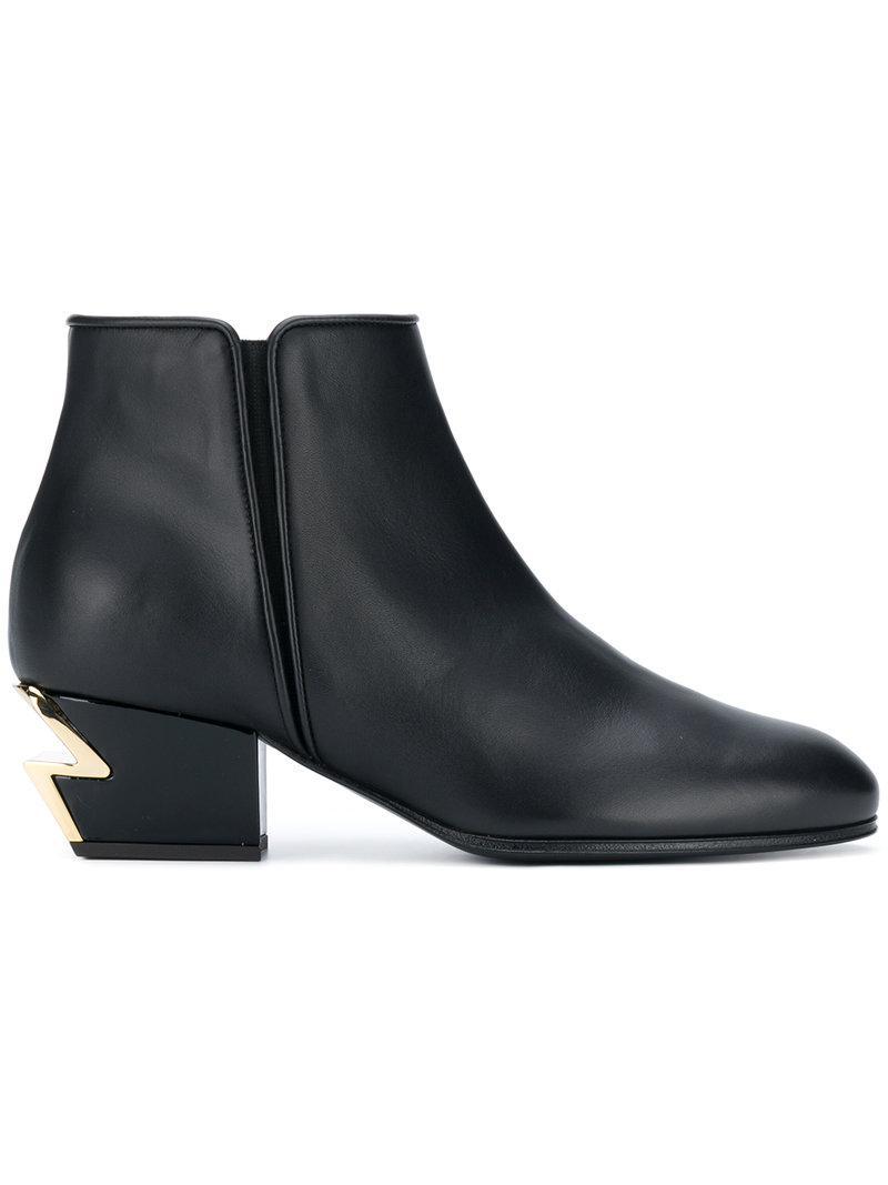 cd707dc1d568 Giuseppe Zanotti Logo Heel Boots in Black - Save 69% - Lyst