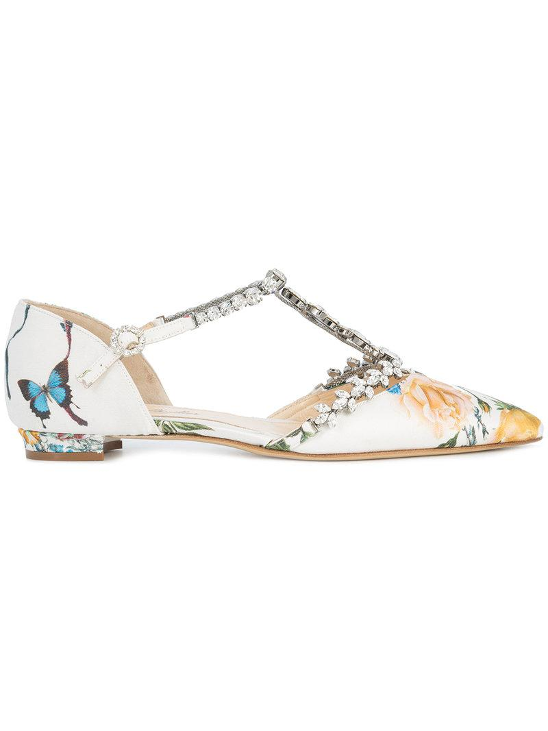 Sabina Botanical ballerina shoes - White Monique Lhuillier 05GTzoTh
