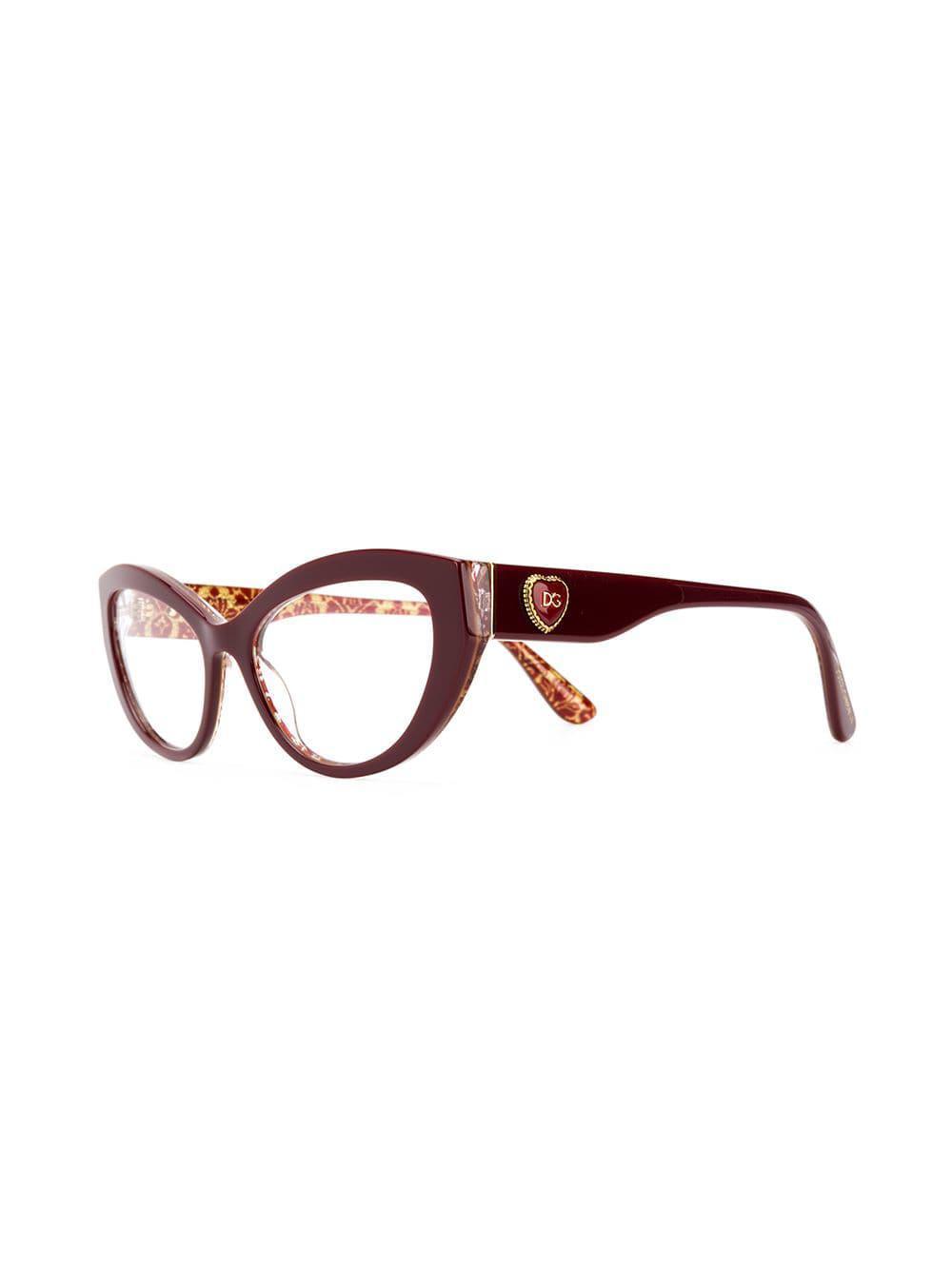 cd10f5be4fa Dolce   Gabbana - Red Cat-eye Glasses - Lyst. View fullscreen