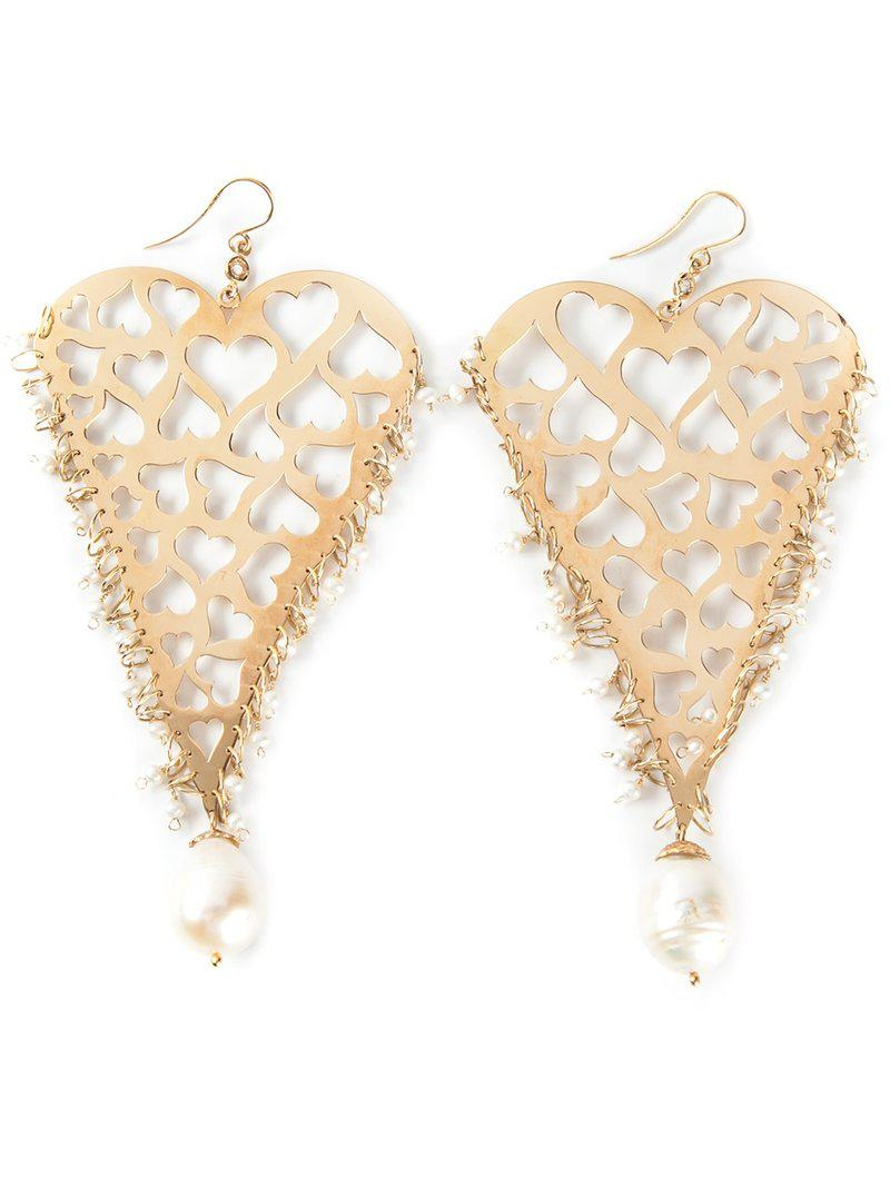 Natasha Zinko 18kt yellow gold heart earrings - Metallic