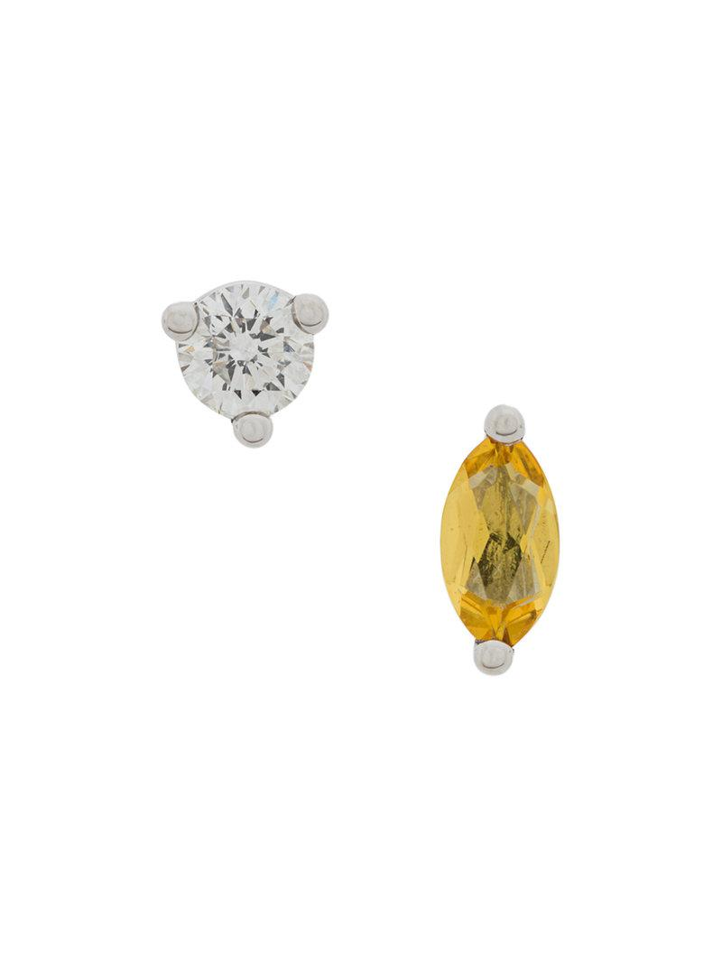 Delfina Delettrez 18kt white gold Dots Solitaire yellow beryllium and diamond earrings - Metallic 3P8ML