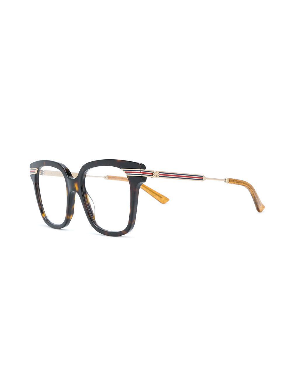 ca5a616008 Gucci - Brown Tortoiseshell Square Frame Glasses - Lyst. View fullscreen