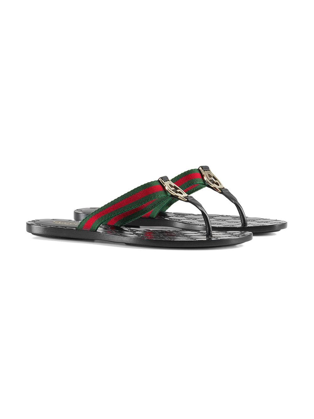 68a83e4a6cb7 Lyst - Gucci GG Thong Web Sandal in Black