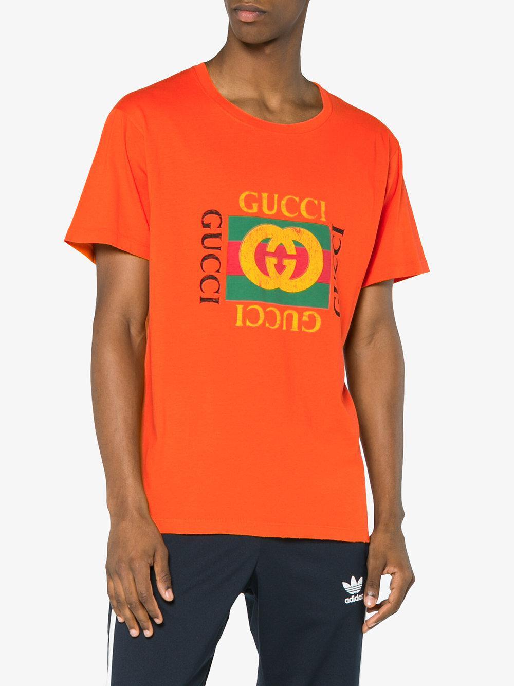 b5b0140b4d2 Gucci Logo Print T Shirt in Orange for Men - Lyst