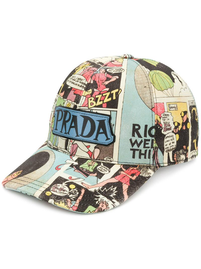 c4eca62c9fd Prada Cartoon Print Cotton Cap - Lyst