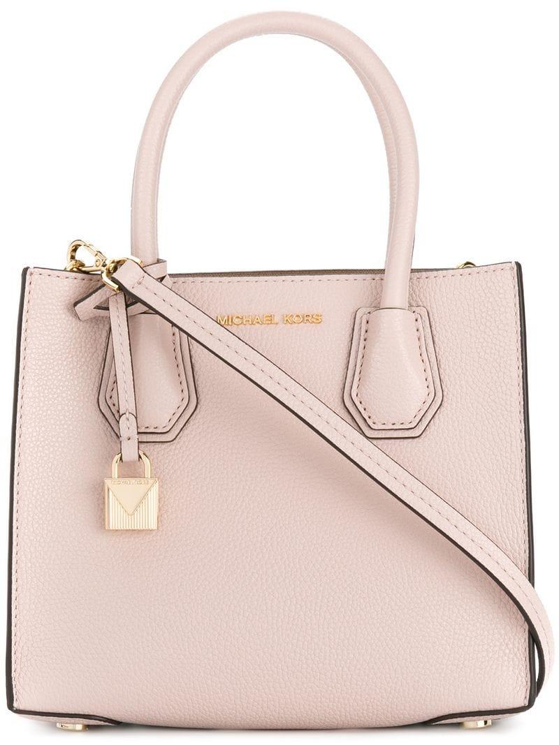 Lyst - MICHAEL Michael Kors Mercer Leather Tote Bag in Pink - Save 57% 1d2b133a9