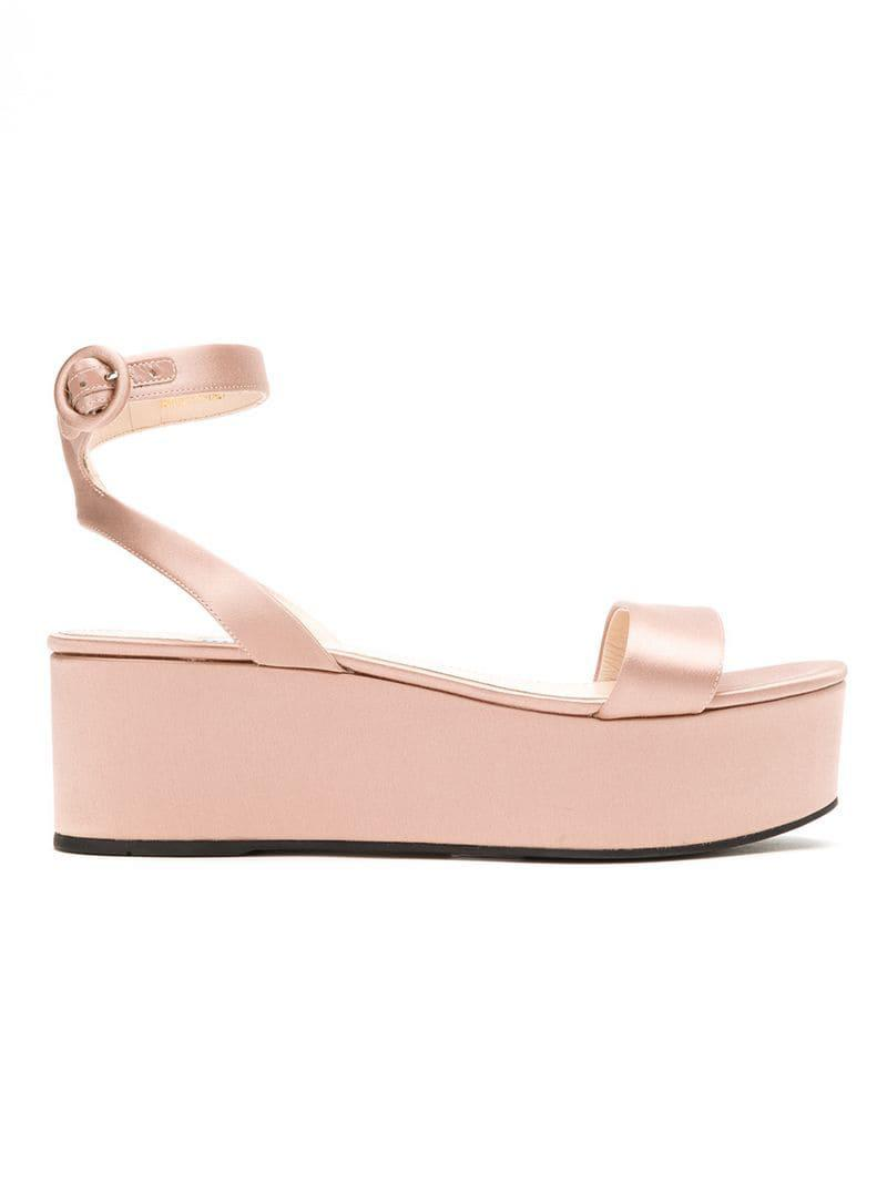 55c56b85943 Lyst - Prada Open Toe Platform Sandals in Pink