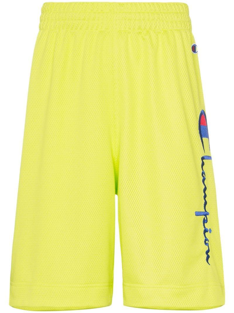 b1e602e4a8 Lyst - Champion Logo Mesh Track Shorts in Green for Men