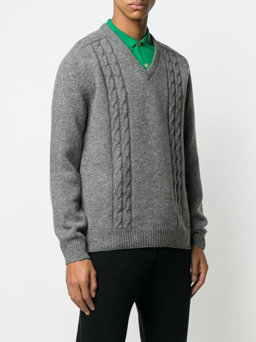 8b6b5fcc5ff4 Gucci - Gray Jacquard Logo Knit Sweater for Men - Lyst. View fullscreen