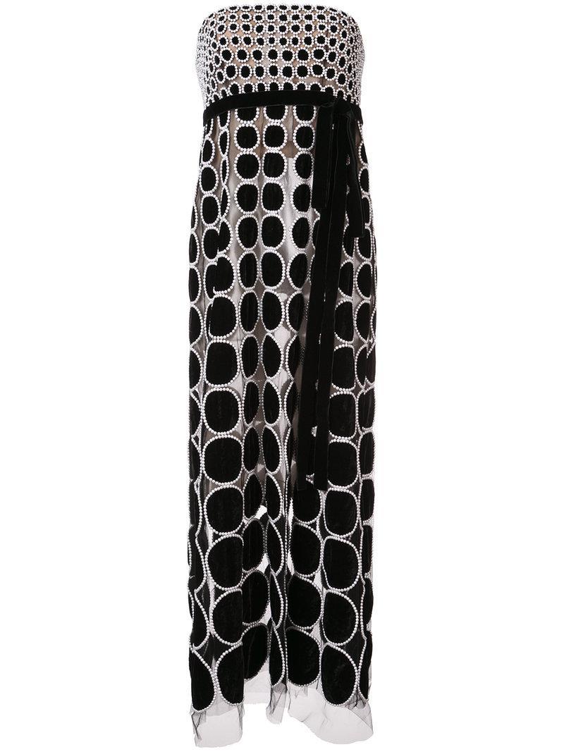 e20acd1c880 Lyst - Oscar De La Renta Strapless Pearl Embroidered Dress in Black