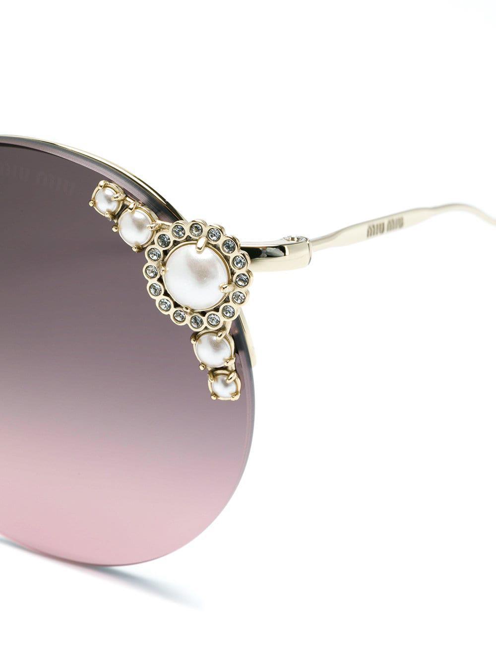 sol redonda Gafas Miu Pink de Collection forma Pearls de Lyst pI5wnq5H