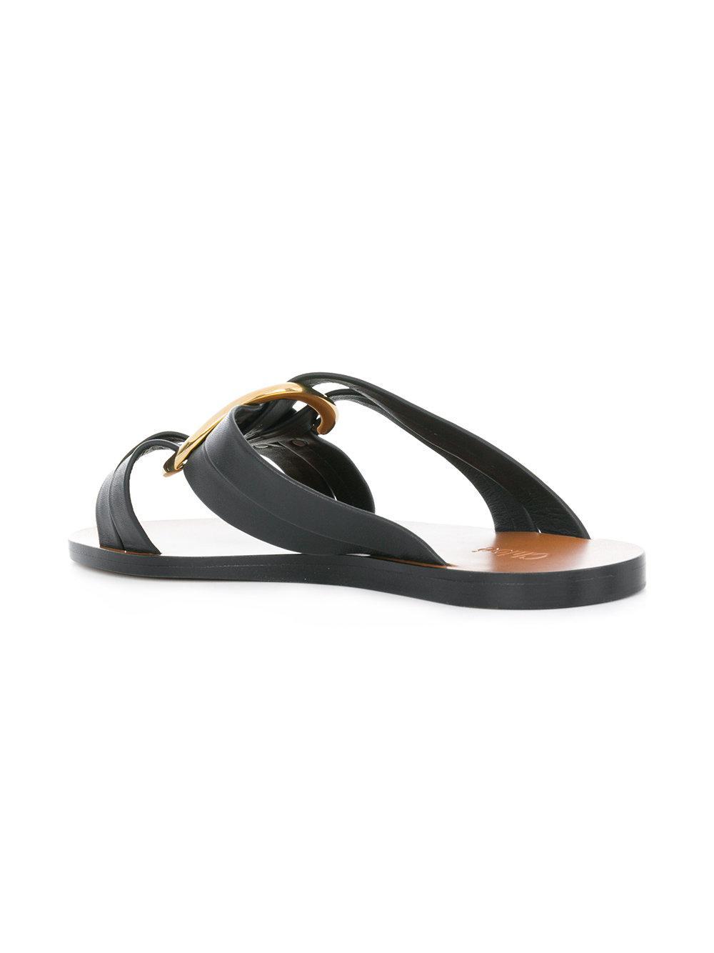 ring embellished slippers - Black Chlo�� ekP890