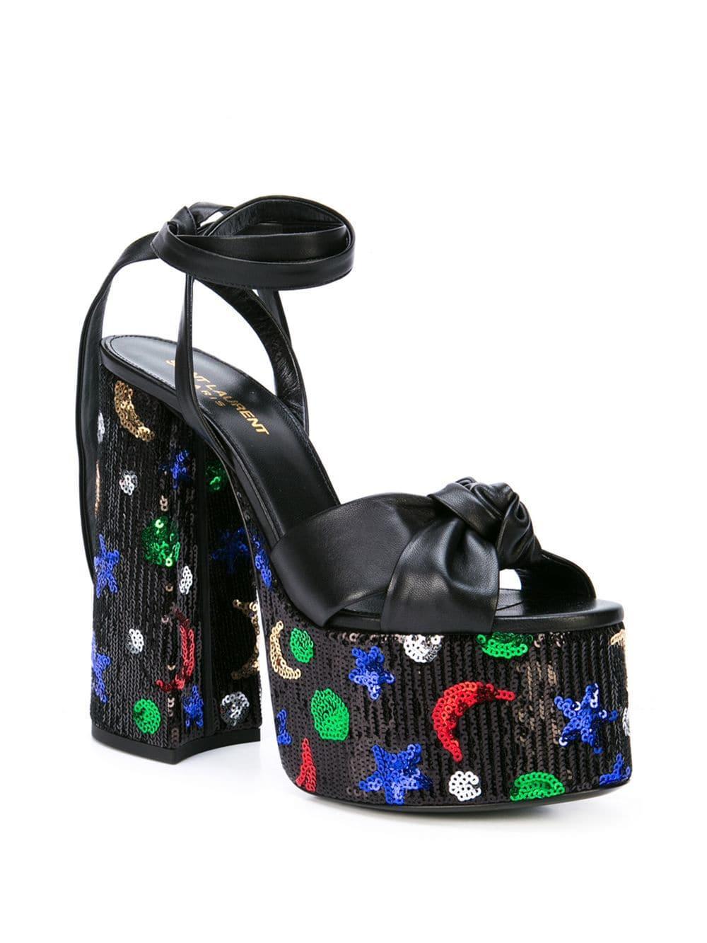 c839f370401 Lyst - Saint Laurent Paige Sequin Platform Sandals in Black
