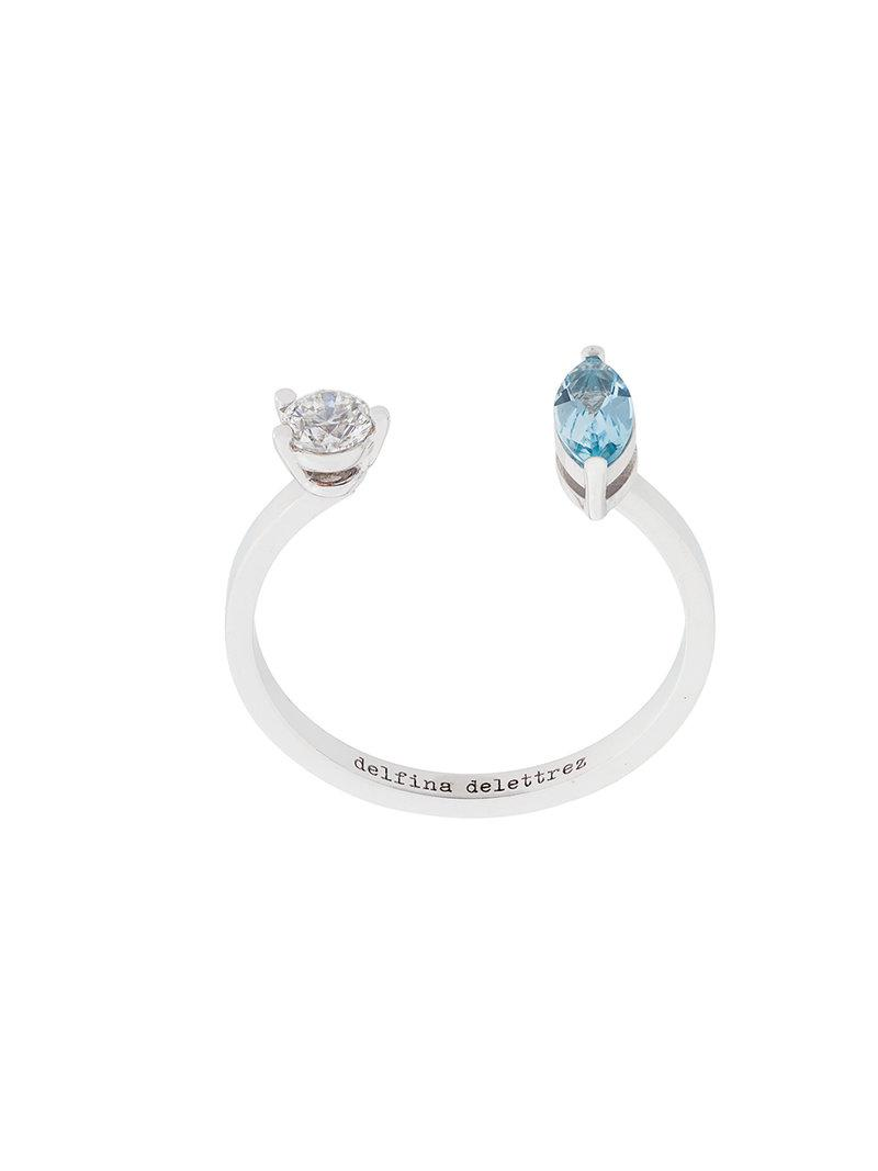 Delfina Delettrez Dots Solitaire aquamarine and diamond ring - Blue CEPFWMkW