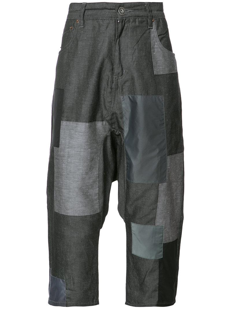 patchwork cropped pants - Grey Mostly Heard Rarely Seen e3qqdjT