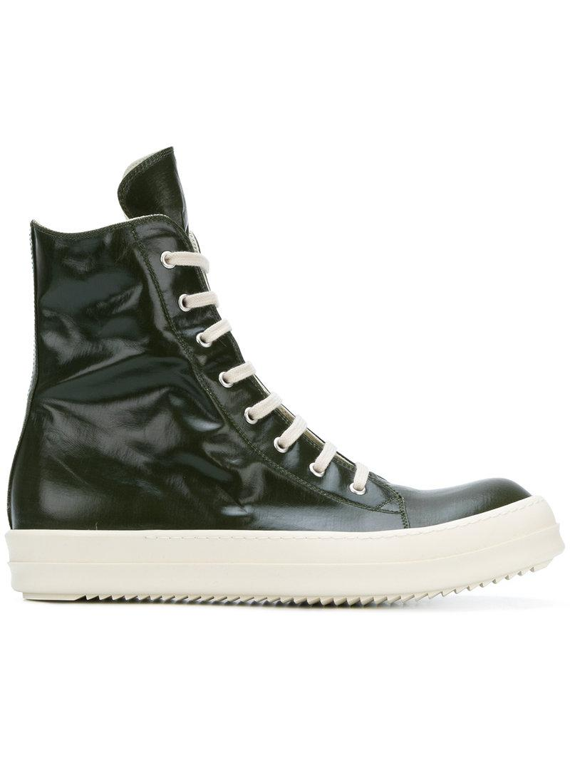 lace-up hi-top sneakers - Green Rick Owens vYY4T