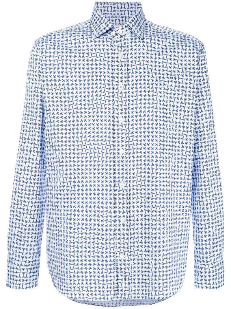 7e54b909 Etro Geometric Print Shirt in Blue for Men - Save 19% - Lyst