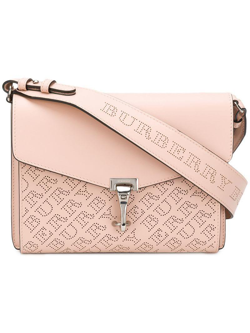 79f5096bd7f2 Lyst - Burberry Small Perforated Logo Leather Crossbody Bag in Pink