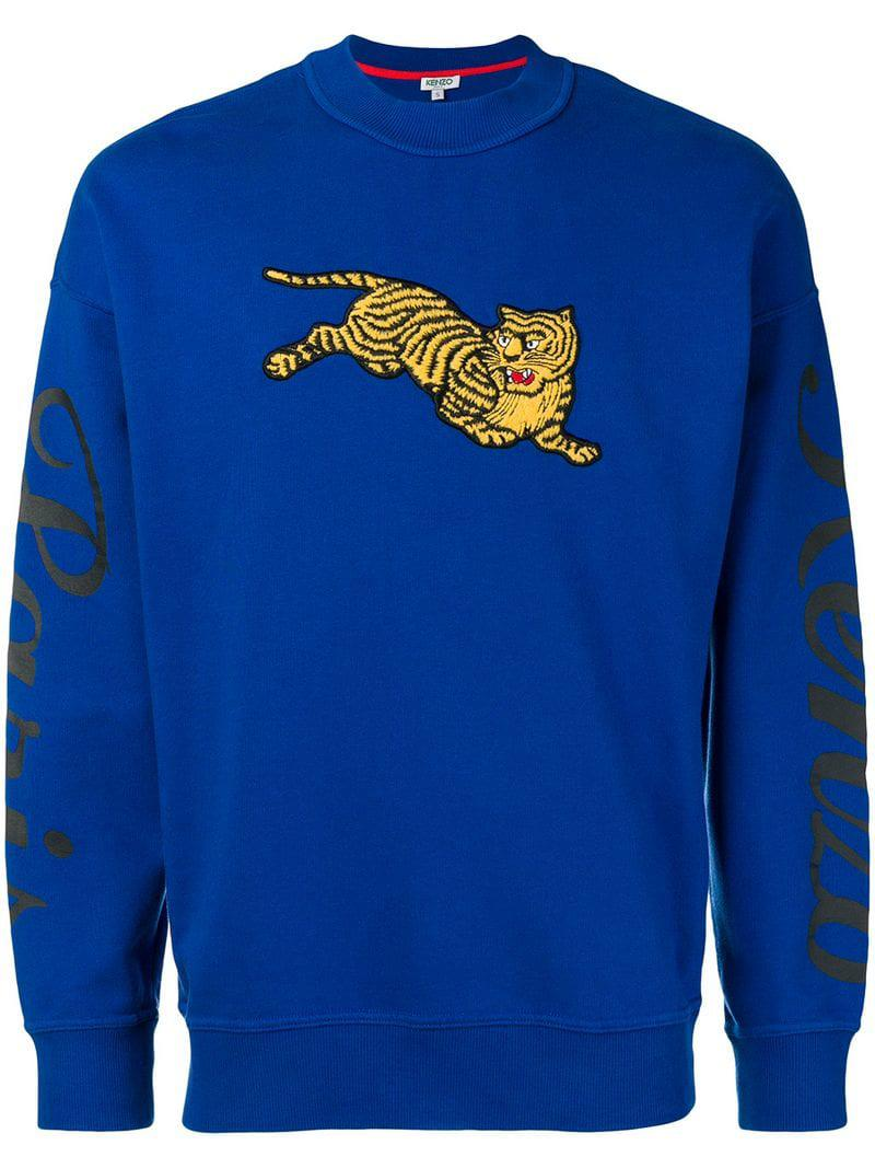 bcd03834d8ff KENZO Tiger Embroidered Sweatshirt in Blue for Men - Lyst