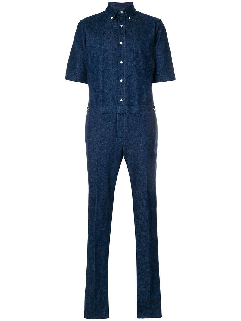 Lyst thom browne half sleeve shirt with low rise skinny for Denim half sleeve shirt