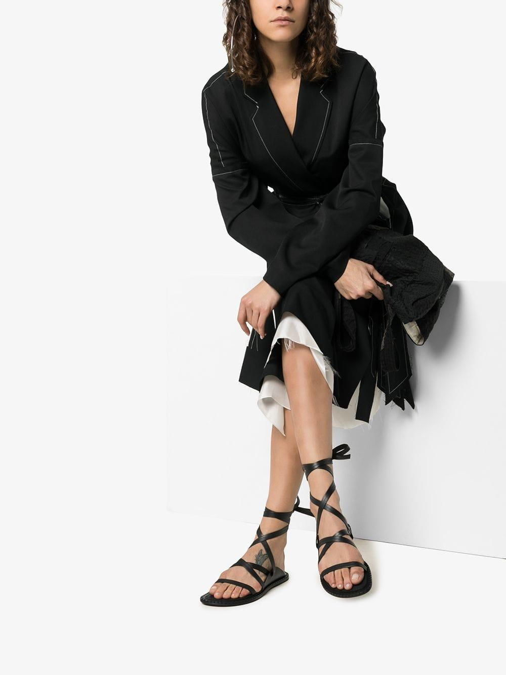 fde40be8f630 Ann Demeulemeester Black Lace Up Leather Sandals in Black - Lyst